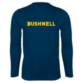 Performance Navy Longsleeve Shirt-Bushnell Athletics Wordmark