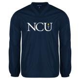 V Neck Navy Raglan Windshirt-NCU Logo