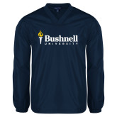 V Neck Navy Raglan Windshirt-Bushnell University Primary Mark