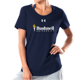 Ladies Under Armour Navy Charged Cotton Tee-Bushnell University Primary Mark