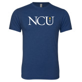 Next Level Vintage Navy Tri Blend Crew-NCU Logo