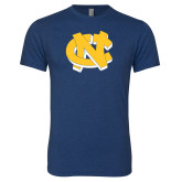 Next Level Vintage Navy Tri Blend Crew-NC Interlocking