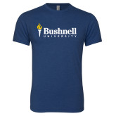 Next Level Vintage Navy Tri Blend Crew-Bushnell University Primary Mark