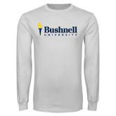 White Long Sleeve T Shirt-Bushnell University Primary Mark
