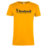 Ladies Gold T Shirt-Bushnell University Primary Mark