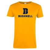 Ladies Gold T Shirt-Bushnell Athletic Mark