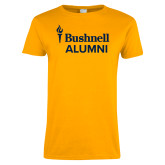 Ladies Gold T Shirt-Bushnell University Alumni
