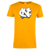 Ladies Gold T Shirt-NC Interlocking