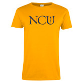 Ladies Gold T Shirt-NCU Distressed