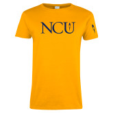 Ladies Gold T Shirt-NCU Logo