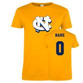 Ladies Gold T Shirt-NC Interlocking, Custom Tee w/ Name and #