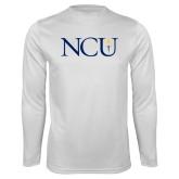 Performance White Longsleeve Shirt-NCU Logo