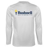 Performance White Longsleeve Shirt-Bushnell University Primary Mark