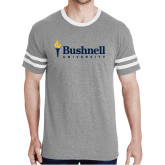 Grey Heather/White Tri Blend Varsity Tee-Bushnell University Primary Mark