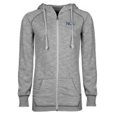 ENZA Ladies Grey/Black Marled Full Zip Hoodie-NCU Logo