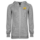 ENZA Ladies Grey/Black Marled Full Zip Hoodie-NC Interlocking