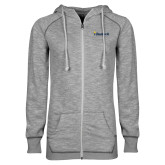 ENZA Ladies Grey/Black Marled Full Zip Hoodie-Bushnell University Primary Mark