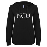 ENZA Ladies Black V Notch Raw Edge Fleece Hoodie-NCU Logo
