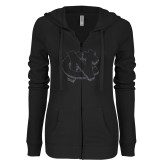 ENZA Ladies Black Light Weight Fleece Full Zip Hoodie-NC Glitter Graphite Soft