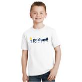 Youth White T Shirt-Bushnell University Primary Mark