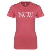 Next Level Ladies SoftStyle Junior Fitted Pink Tee-NCU Logo