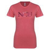 Next Level Ladies SoftStyle Junior Fitted Pink Tee-NCU Logo Foil