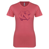 Next Level Ladies SoftStyle Junior Fitted Pink Tee-NC Glitter Hot Pink