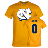Gold T Shirt-NC Interlocking, Custom Tee w/ Name and #