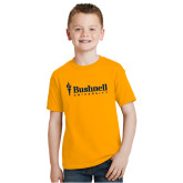 Youth Gold T Shirt-Bushnell University Primary Mark