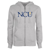ENZA Ladies Grey Fleece Full Zip Hoodie-NCU Logo