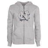 ENZA Ladies Grey Fleece Full Zip Hoodie-NC Glitter Graphite Soft