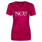 Ladies Pink Raspberry Camohex Performance Tee-NCU Logo