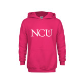 Youth Raspberry Fleece Hoodie-NCU Logo