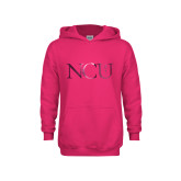 Youth Raspberry Fleece Hoodie-NCU Logo Foil