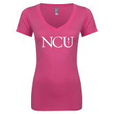Next Level Ladies Junior Fit Ideal V Pink Tee-NCU Logo