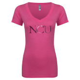 Next Level Ladies Junior Fit Ideal V Pink Tee-NCU Logo Foil