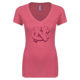 Next Level Ladies Vintage Pink Tri Blend V Neck Tee-NC Glitter Hot Pink