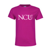 Youth Cyber Pink T Shirt-NCU Logo