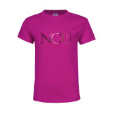 Youth Cyber Pink T Shirt-NCU Logo Foil