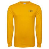Gold Long Sleeve T Shirt-NCU Logo