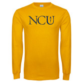 Gold Long Sleeve T Shirt-NCU Distressed