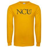 Gold Long Sleeve T Shirt-NCU Distressed