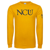 Gold Long Sleeve T Shirt-NCU Logo