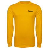 Gold Long Sleeve T Shirt-Bushnell University Primary Mark