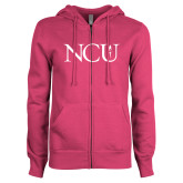 ENZA Ladies Fuchsia Fleece Full Zip Hoodie-NCU Logo