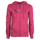 ENZA Ladies Fuchsia Fleece Full Zip Hoodie-NCU Logo Foil