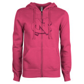 ENZA Ladies Fuchsia Fleece Full Zip Hoodie-NC Glitter Hot Pink