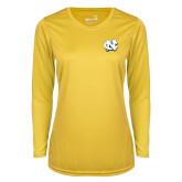 Ladies Syntrel Performance Gold Longsleeve Shirt-NC Interlocking