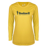 Ladies Syntrel Performance Gold Longsleeve Shirt-Bushnell University Primary Mark