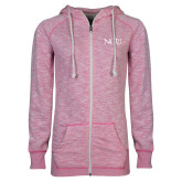 ENZA Ladies Hot Pink Marled Full Zip Hoodie-NCU Logo